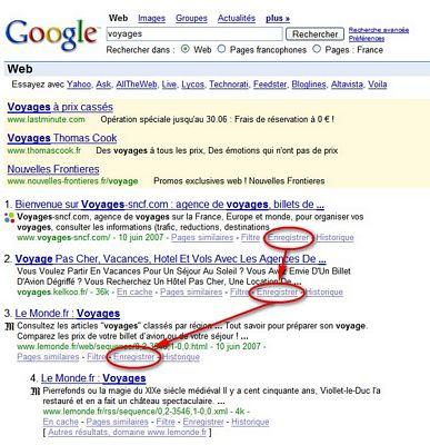 Google-customize-options-Favoris - 1ère Position