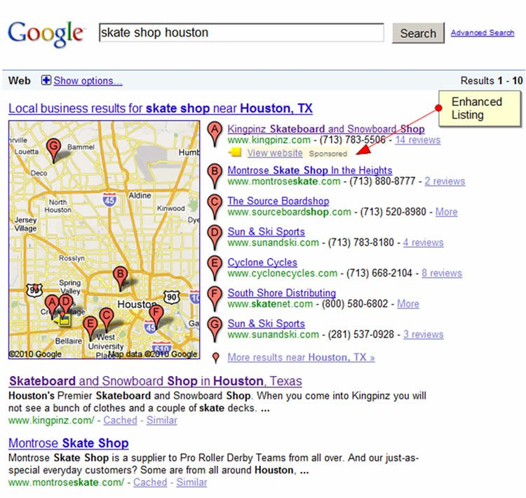 Exemple d'enchanced Listing Google Ads