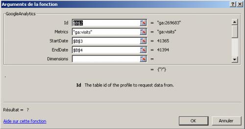 SEO Tools pour Excel et fonction GoogleAnalytics () - 1ère Position