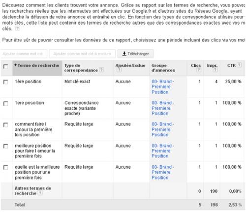 rapport termes recherche Google Ads