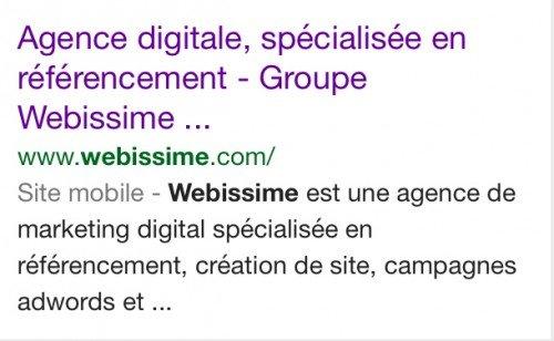 recherche mobile google serp site mobile - 1ère Position