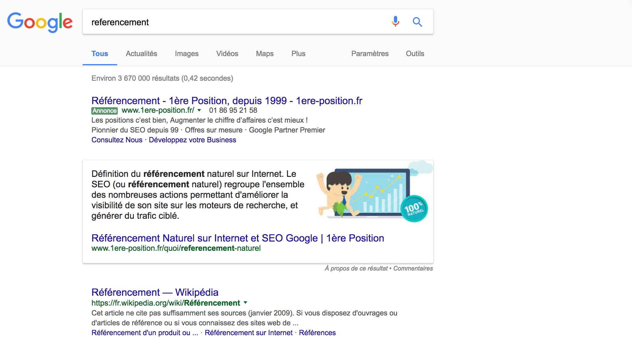 position zero- SERPS Google - 1ère position