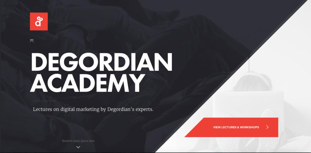Capture d'écran du site de Degordian Academy
