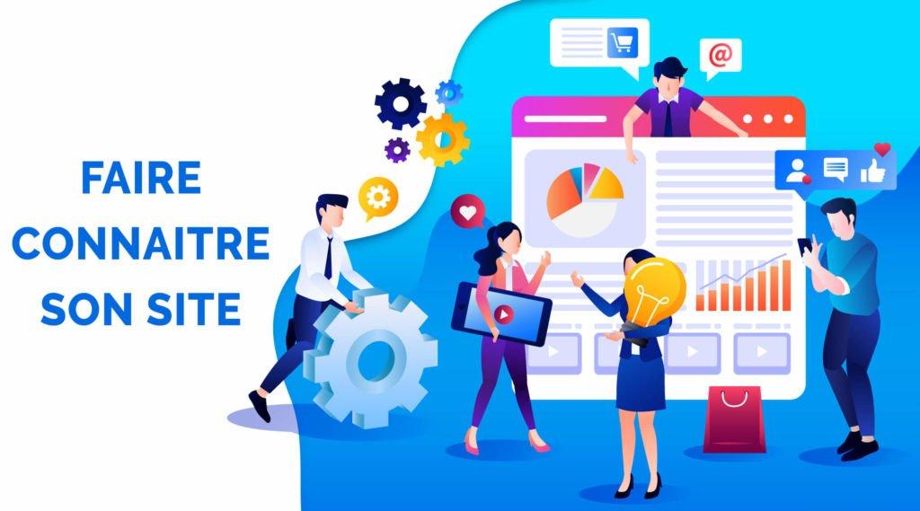 Illustration des techniques pour faire connaitre site web : reseaux sociaux, seo, video