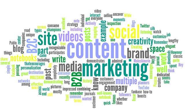 Nuage de mots sur le thème du content marketing et webmarketing