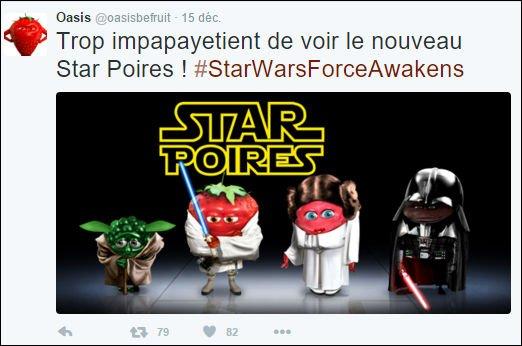 Tweet de Oasis : newsjacking de la sortie du film Star Wars