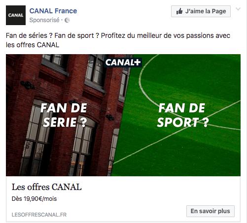 Poser des questions sur Facebook Ads : publicité Canal Plus