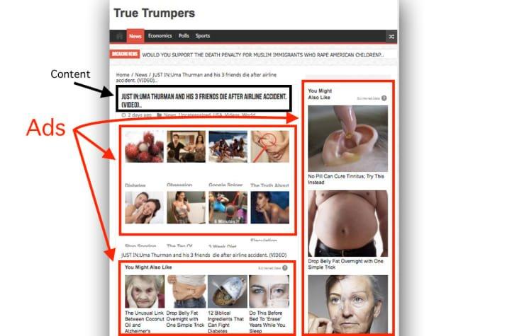 Exemple de mauvais contenu d'une page de destination -1ère Position