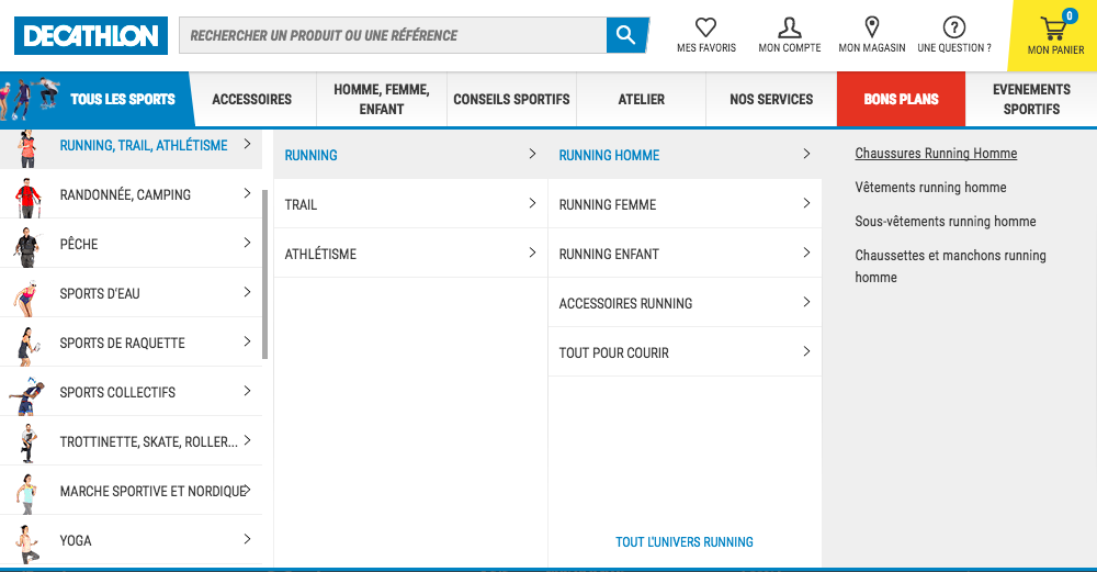 Exemple d'un menu de navigation secondaire sur le site de Decathlon