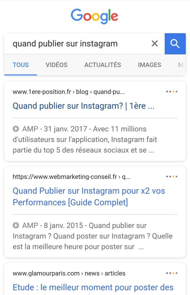 Exemple page AMP dans SERP - 1ère Position