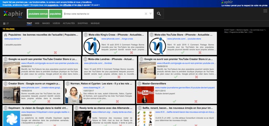 Xaphir moteur de recherche alternatif