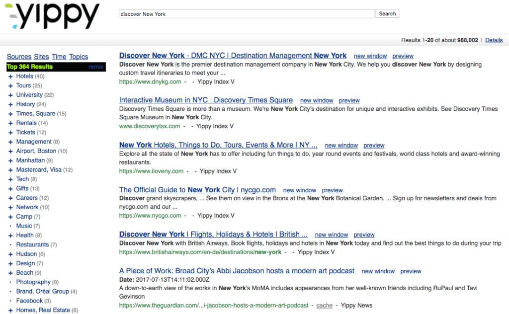 yippy moteur recherche alternatifs google clustering