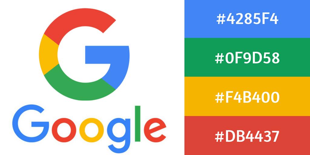 Les couleurs du logo Google au format HEX