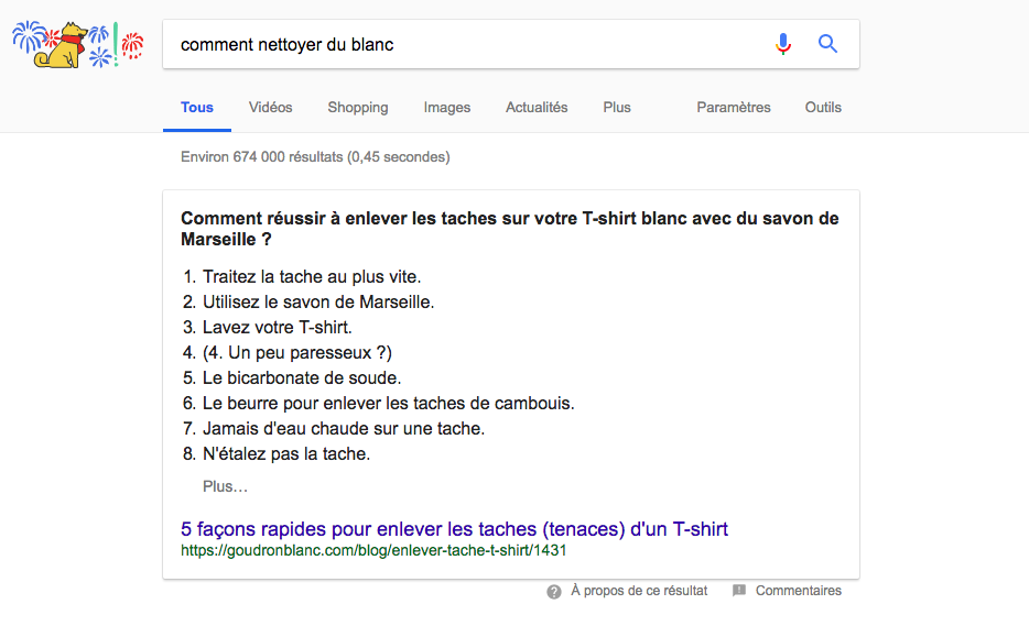 featured snippet google blog 1ere position