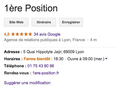 avis Google My Business - 1ère Position