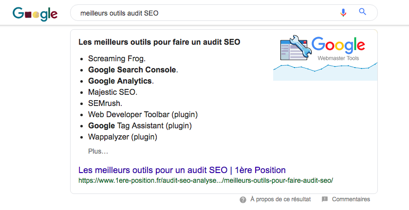 Position 0 Featured Snippets 1ère Position