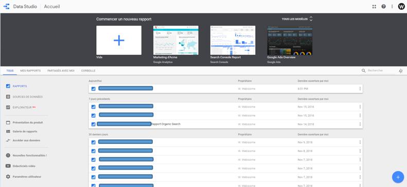tableau de bord de rapports Google Data Studio