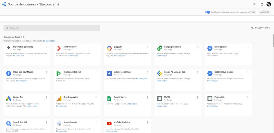 Google Data Studio - choix des sources des donnees