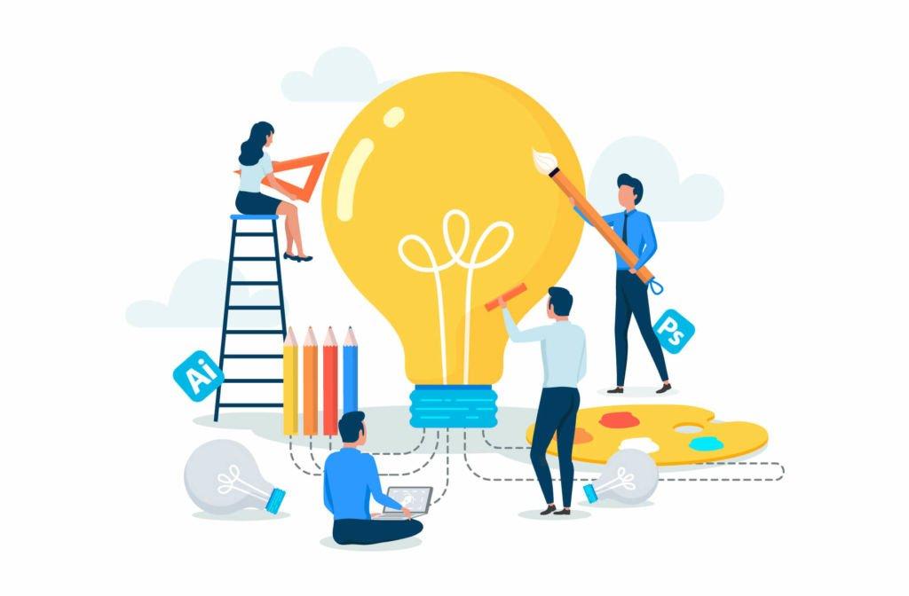 illustration d'une équipe créative créant du contenu et des idées