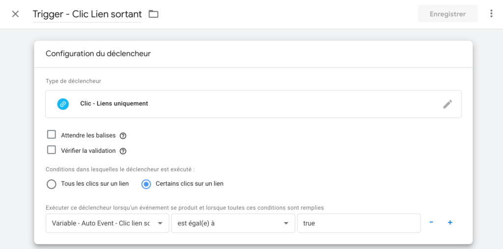 Trigger Google Tag manager clic lien sortant