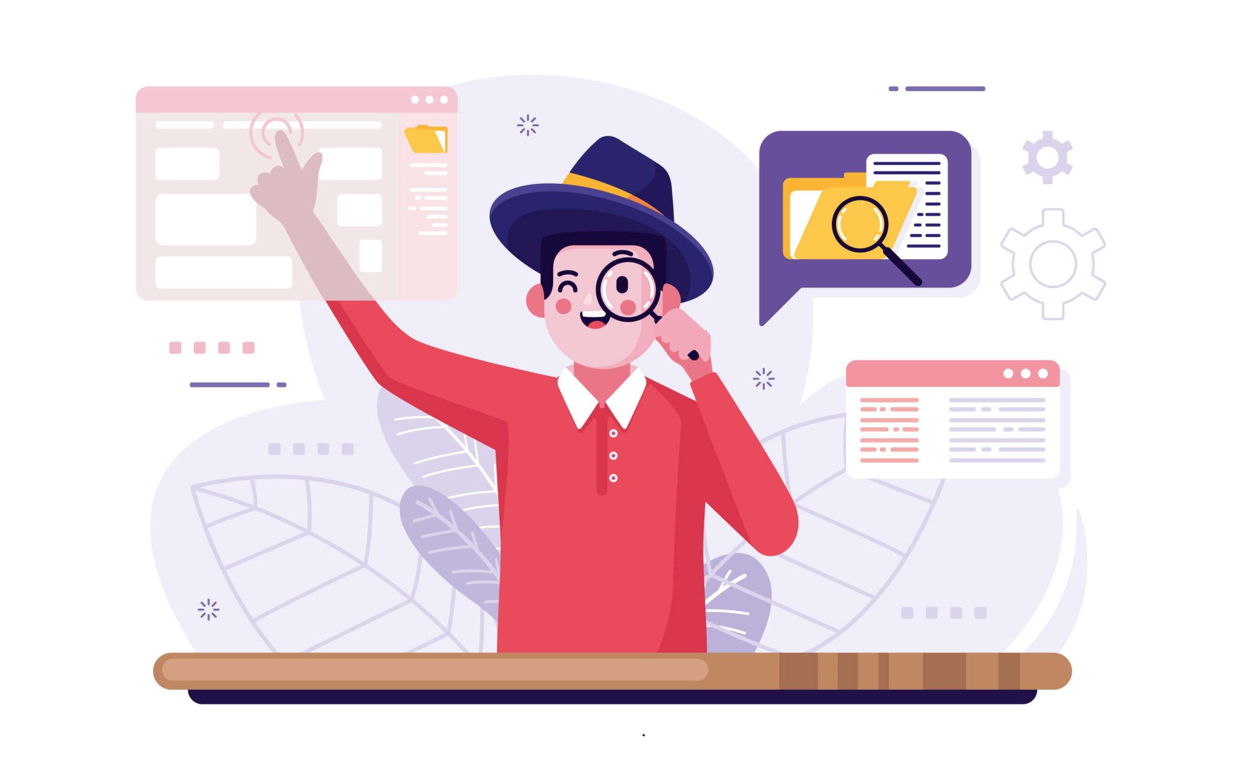 Illustration d'un internaute cherchant une information sur internet