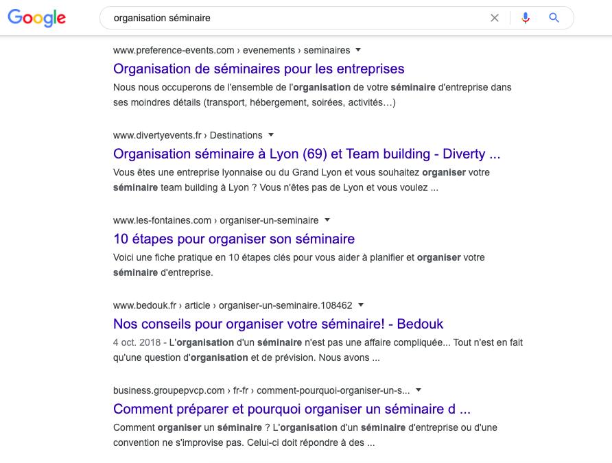 Exemple de page de résultat Google