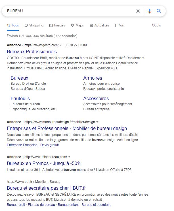 annonces search ads sur le réseau de recherche google