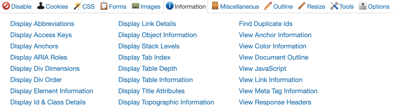 information toolbar